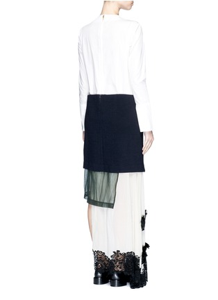 Back View - Click To Enlarge - TOGA ARCHIVES - Cotton poplin wool knit combo asymmetric layer dress