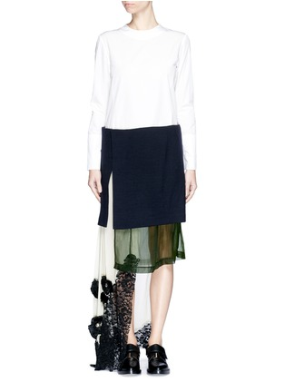 Main View - Click To Enlarge - TOGA ARCHIVES - Cotton poplin wool knit combo asymmetric layer dress