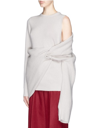 Front View - Click To Enlarge - TOGA ARCHIVES - Asymmetric wrap layer wool sweater