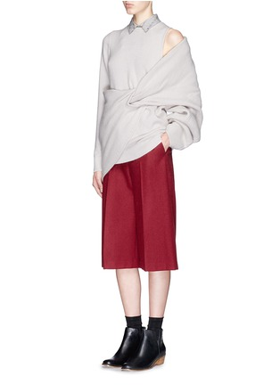 Figure View - Click To Enlarge - TOGA ARCHIVES - Asymmetric wrap layer wool sweater