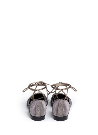 Back View - Click To Enlarge - Stuart Weitzman - 'Gilligan' lace-up glitter flats