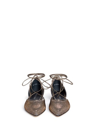 Front View - Click To Enlarge - Stuart Weitzman - 'Gilligan' lace-up glitter flats
