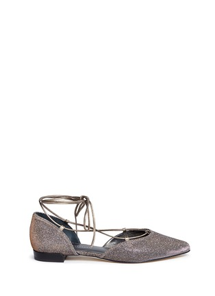 Main View - Click To Enlarge - Stuart Weitzman - 'Gilligan' lace-up glitter flats