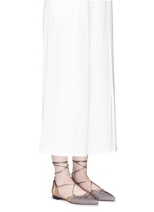 Figure View - Click To Enlarge - Stuart Weitzman - 'Gilligan' lace-up glitter flats