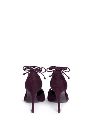 Back View - Click To Enlarge - Stuart Weitzman - 'On A String' lace-up suede d'Orsay pumps