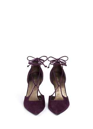 Front View - Click To Enlarge - Stuart Weitzman - 'On A String' lace-up suede d'Orsay pumps