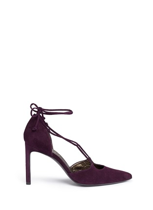 Main View - Click To Enlarge - Stuart Weitzman - 'On A String' lace-up suede d'Orsay pumps