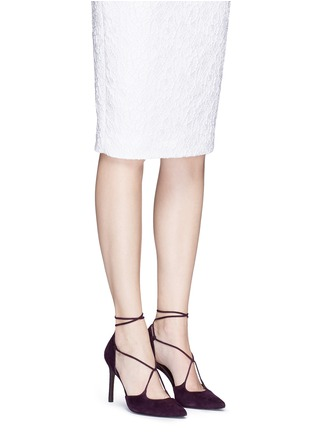 Figure View - Click To Enlarge - Stuart Weitzman - 'On A String' lace-up suede d'Orsay pumps