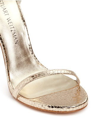 Detail View - Click To Enlarge - Stuart Weitzman - 'Nudist Song' crack effect metallic leather sandals