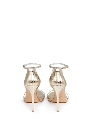 Back View - Click To Enlarge - Stuart Weitzman - 'Nudist Song' crack effect metallic leather sandals