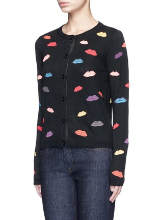 Front View - Click To Enlarge - alice + olivia - Lips embroidery wool cardigan