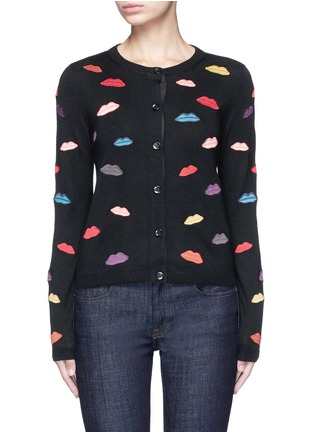 Main View - Click To Enlarge - alice + olivia - Lips embroidery wool cardigan