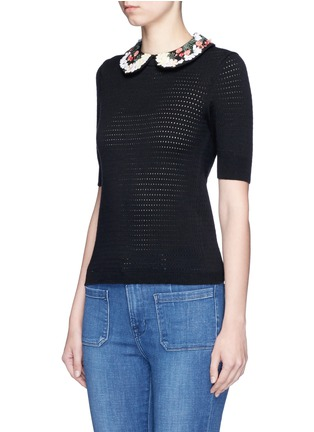 Front View - Click To Enlarge - alice + olivia - 'Remmie' removable floral embroidered collar knit top