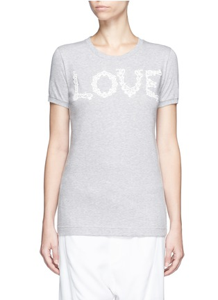 Main View - Click To Enlarge - Dolce & Gabbana - 'Love' lace slogan jersey T-shirt