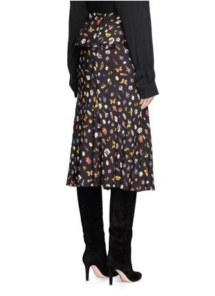 Back View - Click To Enlarge - ALEXANDER MCQUEEN - Obsession print asymmetric ruffle crepe skirt