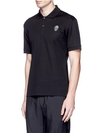 Front View - Click To Enlarge - Alexander McQueen - Skull embroidery polo shirt