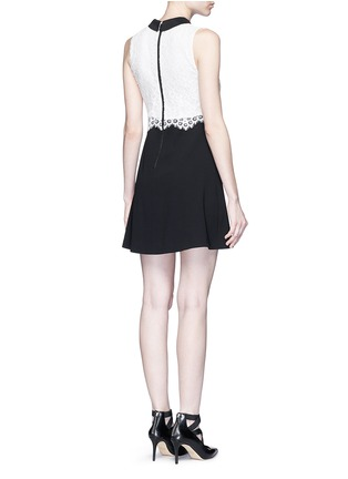 Back View - Click To Enlarge - alice + olivia - 'Desra' floral lace combo collar dress
