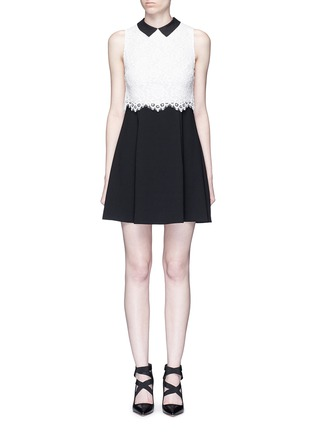 Main View - Click To Enlarge - alice + olivia - 'Desra' floral lace combo collar dress