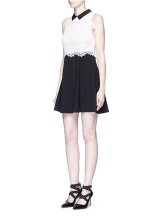 Figure View - Click To Enlarge - alice + olivia - 'Desra' floral lace combo collar dress
