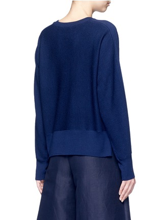 Back View - Click To Enlarge - VINCE - Wool-silk waffle knit sweater