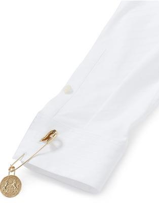 Detail View - Click To Enlarge - Balenciaga - Logo coin pin pinstripe poplin shirt