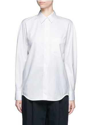 Main View - Click To Enlarge - Balenciaga - Logo coin pin pinstripe poplin shirt