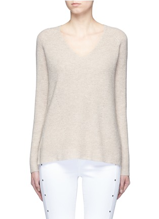 Main View - Click To Enlarge - VINCE - V-neck wool-cashmere ribbed sweater