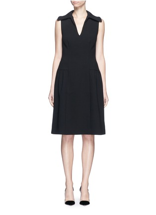 Main View - Click To Enlarge - Co - Gathered flared collar crepe dress