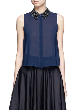 Main View - Click To Enlarge - alice + olivia - 'Lorrie' embellished collar silk sleeveless shirt