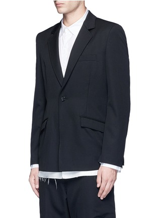 Front View - Click To Enlarge - SULVAM - Back slit raw edge lining wool blazer