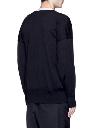 Back View - Click To Enlarge - Sulvam - Relaxed fit V-neck wool sweater
