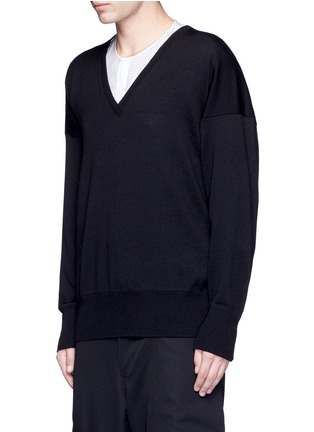 Front View - Click To Enlarge - Sulvam - Relaxed fit V-neck wool sweater