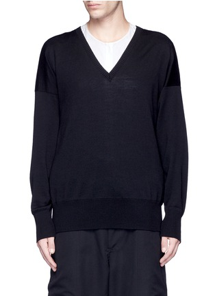 Main View - Click To Enlarge - Sulvam - Relaxed fit V-neck wool sweater