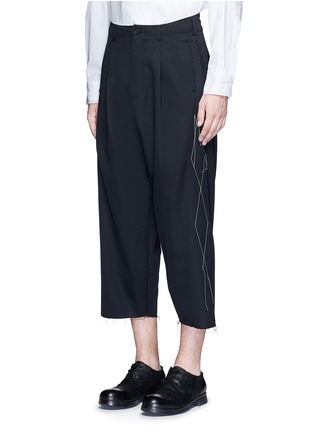 Front View - Click To Enlarge - Sulvam - Contrast stitch raw edge cropped wool pants