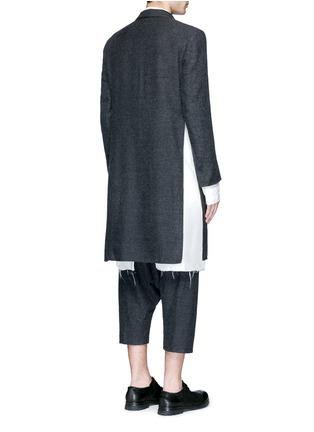 Back View - Click To Enlarge - Sulvam - Side split raw edge lining wool coat
