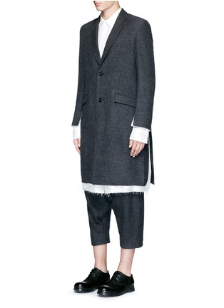 Front View - Click To Enlarge - Sulvam - Side split raw edge lining wool coat