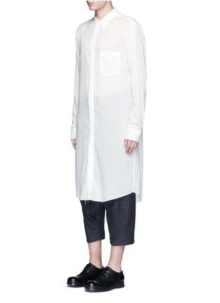 Front View - Click To Enlarge - Sulvam - Back slit long tencel shirt