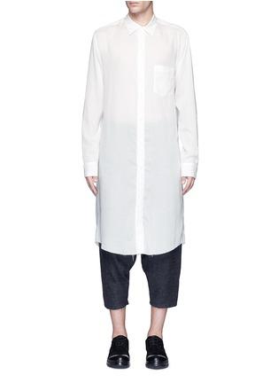 Main View - Click To Enlarge - Sulvam - Back slit long tencel shirt