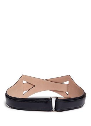 Back View - Click To Enlarge - Alaïa - Geometric cutout overlap leather belt