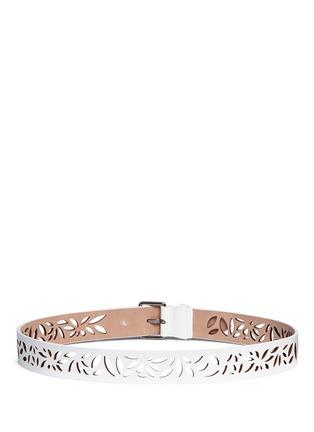 Back View - Click To Enlarge - Alaïa - 'Mini Maguerite' floral lasercut leather belt