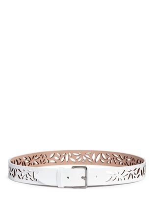 Main View - Click To Enlarge - Alaïa - 'Mini Maguerite' floral lasercut leather belt