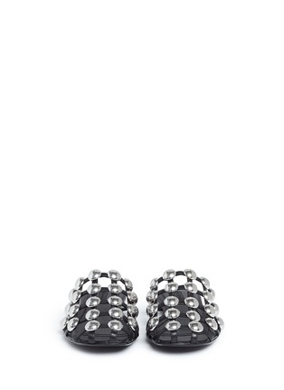 Front View - Click To Enlarge - ALEXANDERWANG - 'Amelia' dome stud caged leather slide flats