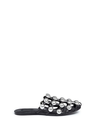 Main View - Click To Enlarge - ALEXANDERWANG - 'Amelia' dome stud caged leather slide flats