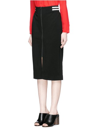 Front View - Click To Enlarge - Mo&Co. - Stripe waist jersey pencil skirt