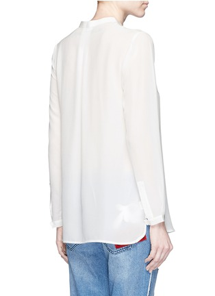 Back View - Click To Enlarge - Mo&Co. - Keyhole button silk georgette shirt