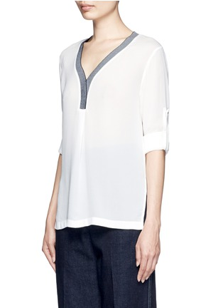 Front View - Click To Enlarge - Mo&Co. - Contrast V-neck silk georgette blouse
