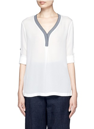 Main View - Click To Enlarge - Mo&Co. - Contrast V-neck silk georgette blouse