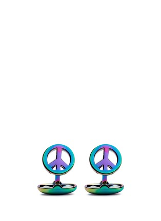 Main View - Click To Enlarge - Paul Smith - 'Peace' holographic rainbow cufflinks