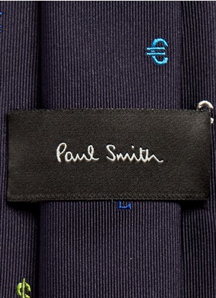 Detail View - Click To Enlarge - Paul Smith - Dollar sign embroidery silk tie
