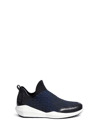 Main View - Click To Enlarge - ASH - 'Quincy' woven ribbon neoprene slip-on sneakers